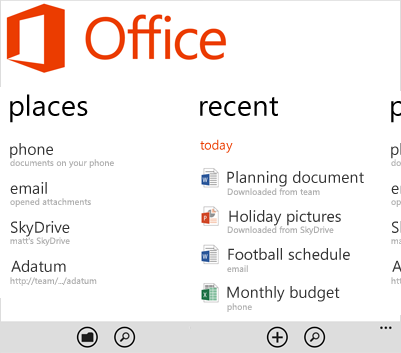 Office Hub, Microsoft Office on the Windows Phone 8 operating system
